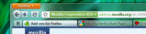 Interfaz de Firefox 4.0 en Windows 7
