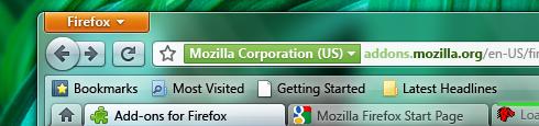 Interfaz de Firefox 4.0 en Windows 7