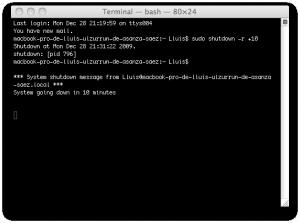 El Mac está programado para apagarse en 10 minutos