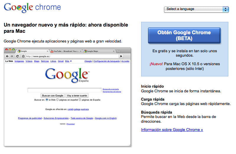 Google Chrome ya disponible para Mac