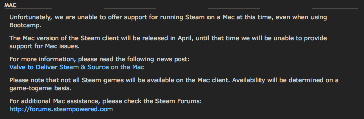 Steam próximamente en Mac OS X
