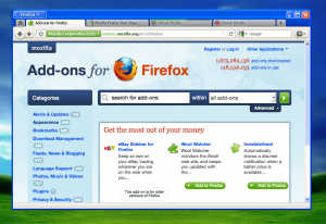 Firefox 4 en Windows XP con el tema Luna