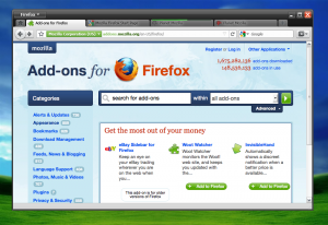 Firefox 4 en Windows XP con el tema Zune