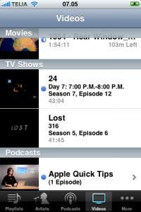 Aplicación iPod del iPhone