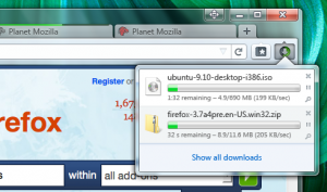 Panel de descargas de Firefox 4 en Windows 7