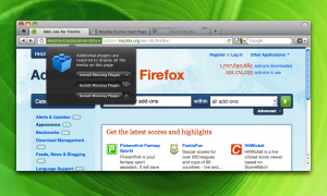 Panel de notificaciones de Firefox 4 en Mac OS X