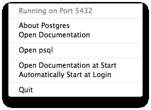 Postgres.app menu