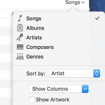 iTunes sorting options popup