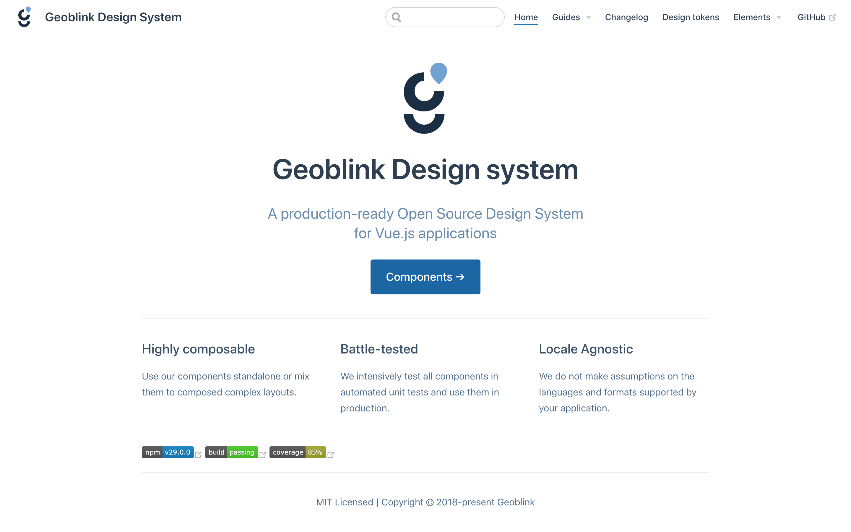 Geoblink Design System documentation home page