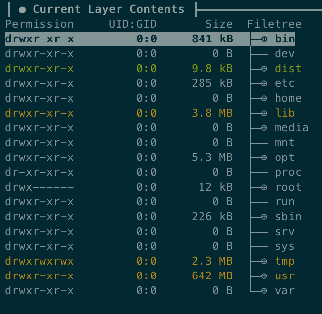 Last layer filesystem as displayed by Dive